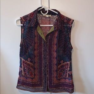 Short sleeve blouse multi print